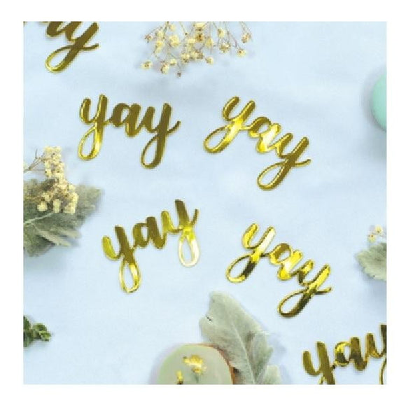 Five Star | Gold Jumbo Confetti - Yay | Bridal Shower Party Theme & Supplies