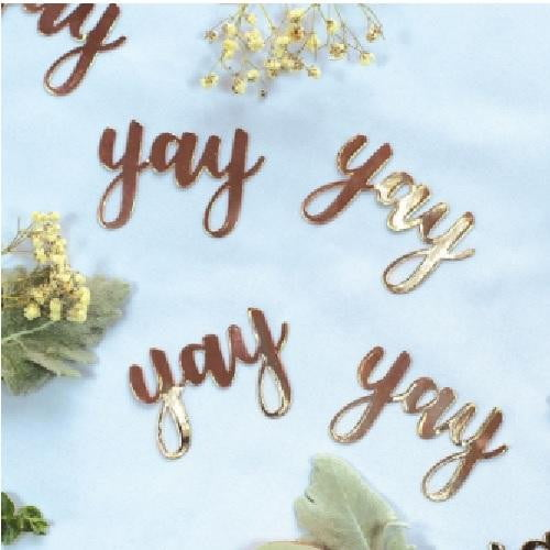 Five Star | Rose Gold Jumbo Confetti - Yay | Bridal Shower Party Theme & Supplies