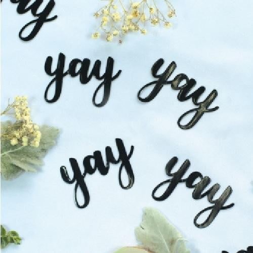 Five Star | Black Jumbo Confetti - Yay | Bridal Shower Party Theme & Supplies
