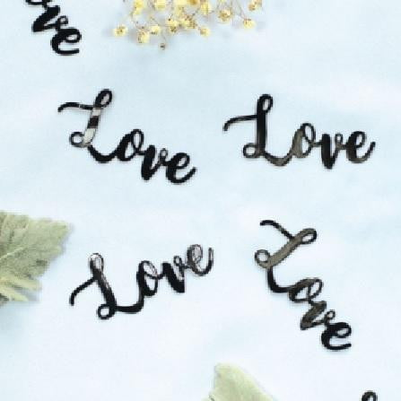 Five Star | Black Jumbo Confetti - Love | Wedding Party Theme & Supplies