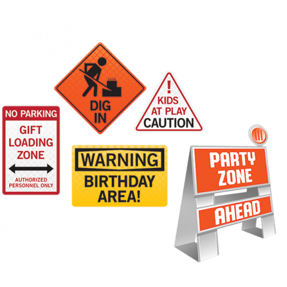 Amscan | Big Dig Construction Decorating Kit Easel and Wall Signs | Construction Party Them & Supplies |