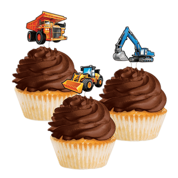 Amscan | Big Dig Construction Cupcake Toppers | Construction Party Them & Supplies |