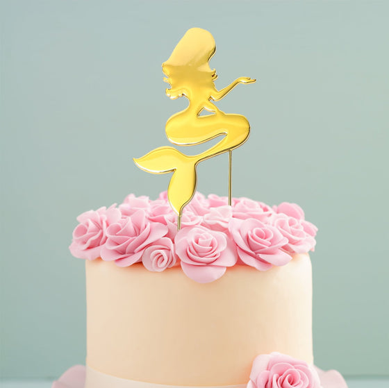 Gold Mermaid Cake Topper | Mermaid Cake Decorations