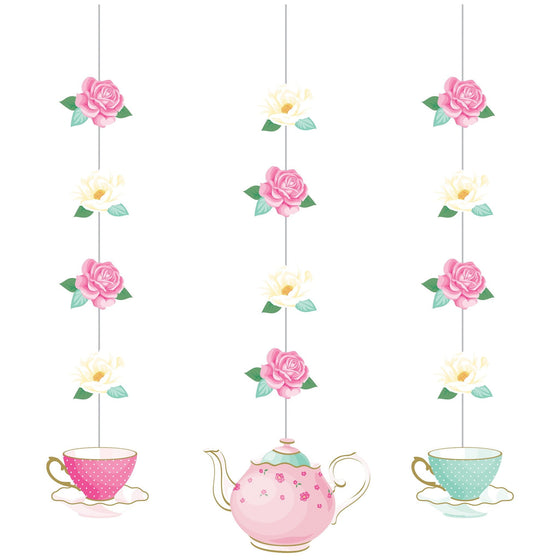 Creative Converting | Floral Tea Party Hanging Decorations | Floral Tea Party Theme and Supplies