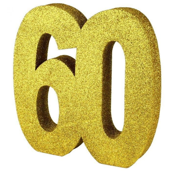 Parties and More | Foam Glitter 60 Gold Centrepiece | 60th Theme and Party Supplies