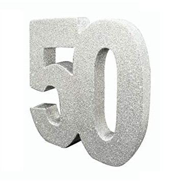 Parties and More | Foam Glitter 50 Silver Centrepiece | 50th Theme and Party Supplies