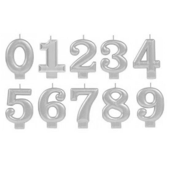 Silver Number Birthday Candles | Silver Cake Decorations