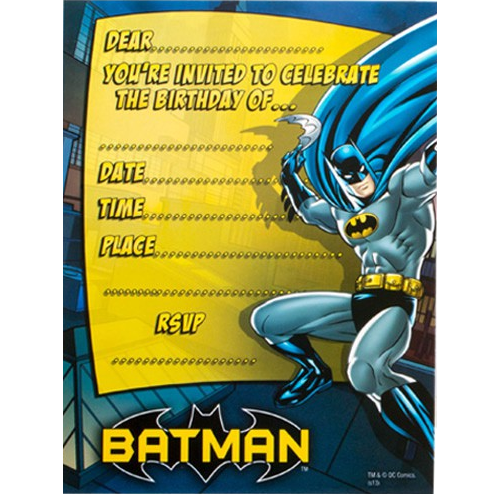 Batman Party Invites | Batman Party Supplies