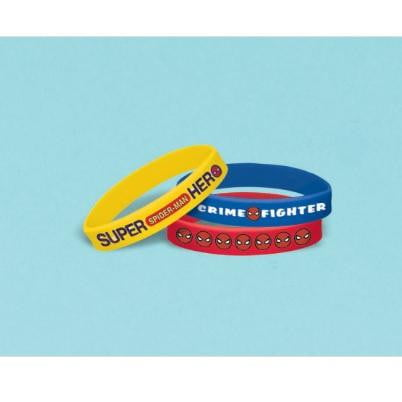 Amscan | Spiderman Webbed Silicone Bracelets - Pack of 6 | Spiderman