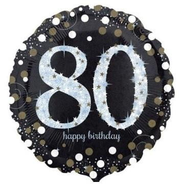 Sparkling Black 80th Foil Balloon