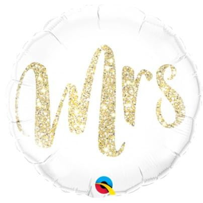 Qualatex | Mrs Gold Glitter Foil Balloon | Wedding Party Theme & Supplies