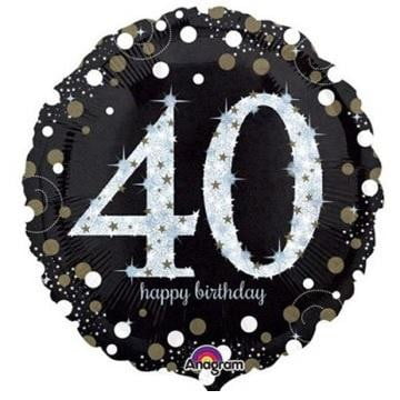 Anagram | Sparkling Black 40th Foil Balloon
