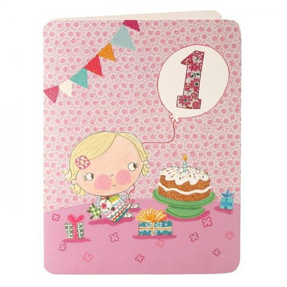 Girl's 1st Birthday Card | Girl's 1st Birthday Party Supplies