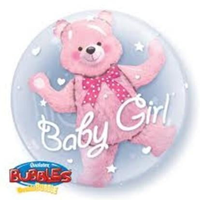 Qualatex | Baby Girl Bear Double Bubble Balloon | Baby Shower Party Theme & Supplies