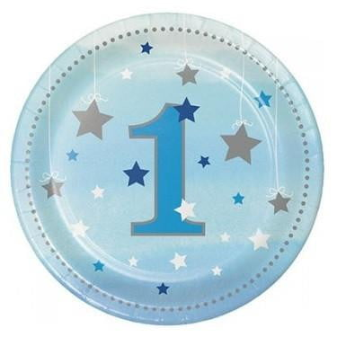 Party Creations | One Little Star Blue Plates | 1st Birthday Party Theme & Supplies