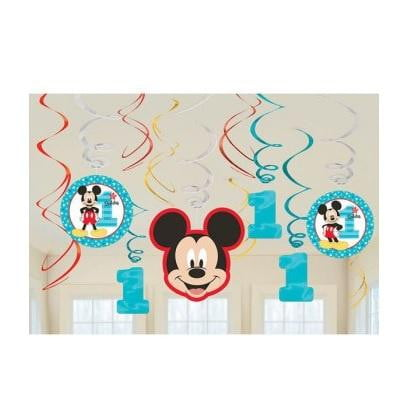 Amscan | Mickey Mouse Fun to be One Hanging Swirl Decorations | Mickey Mouse Party Theme & Supplies