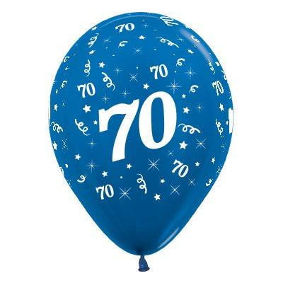 Sempertex | 6 Pack Age 70 Balloons - Metallic Blue