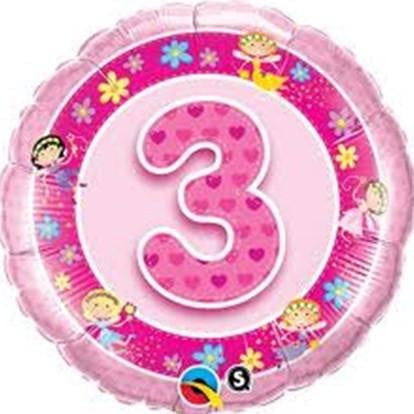 Girl's 3rd Birthday Foil Balloon | Girl's 3rd Birthday Party Supplies