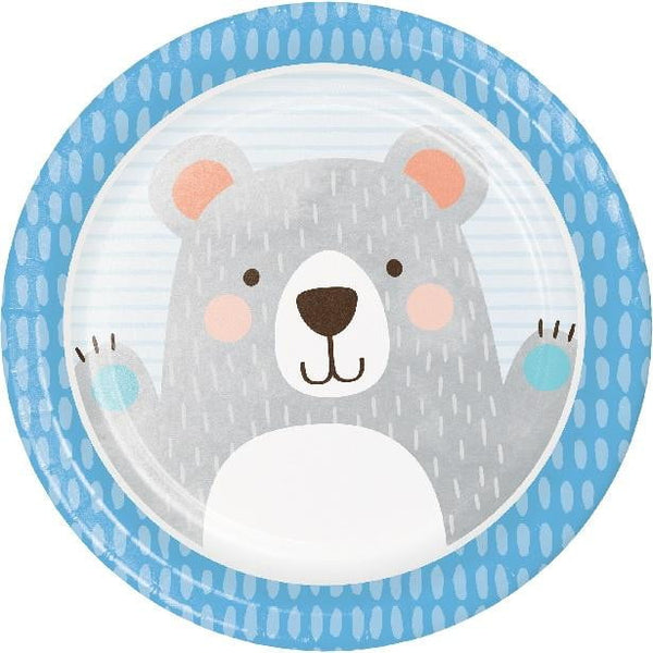 Amscan | Birthday Bear Plates - Dinner | 1st Birthday Party Theme & Supplies