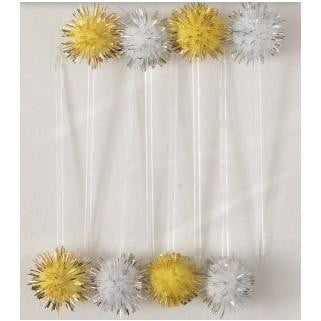 Unique | Gold & Silver Pom Pom Cupcake Toppers |