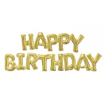 Anagram | Gold Foil Balloon Banner - Happy Birthday |