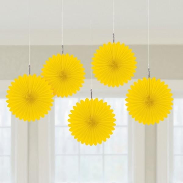 Yellow Fan Decorations | Yellow Party Theme and Supplies