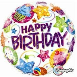 Qualatex | Happy Birthday Cupcakes & Stars Foil Balloon