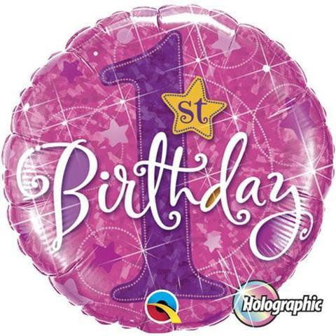 Qualatex | 1st Birthday Pink Stars Foil Balloon | 1st Birthday Party Theme & Supplies