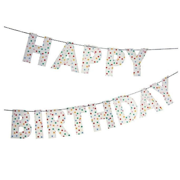Meri Meri Toot Sweet Happy Birthday Garland | Rainbow Party Theme & Supplies