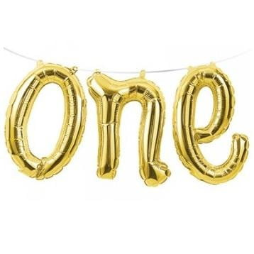 Foil Balloon Banner - Gold One | 1st Birthday Party Theme & Supplies
