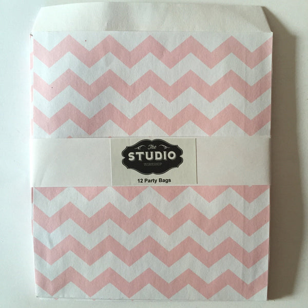 Pale Pink Chevron Party Bags | Party Bag themes and supplies