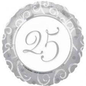 Qualatex | Silver Swirls 25th Anniversary Foil Balloon