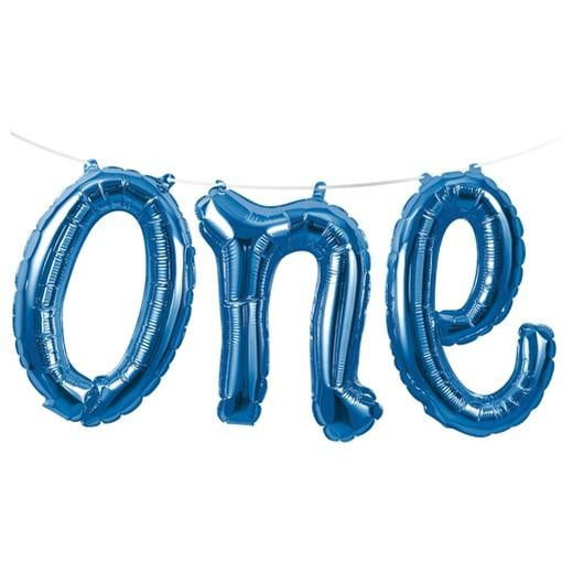Blue One Foil Balloon Banner | 1st Birthday Party Supplies