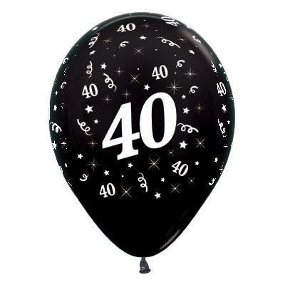 Sempertex | 6 Pack Age 40 Balloons - Metallic Black