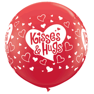 Qualatex | Jumbo Kisses & Hugs Balloon | Valentines Party Theme & Supplies