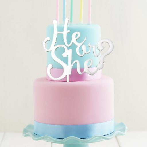He or She Cake Topper | Gender Reveal Cake Topper | Gender Reveal Party