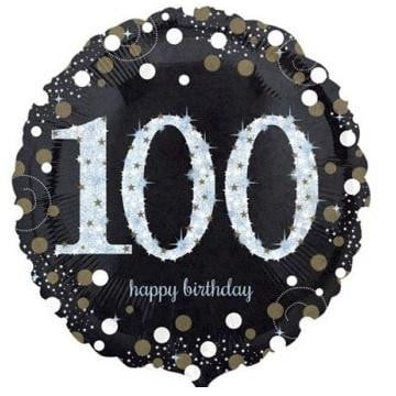 Anagram | Sparkling Black 100th Foil Balloon