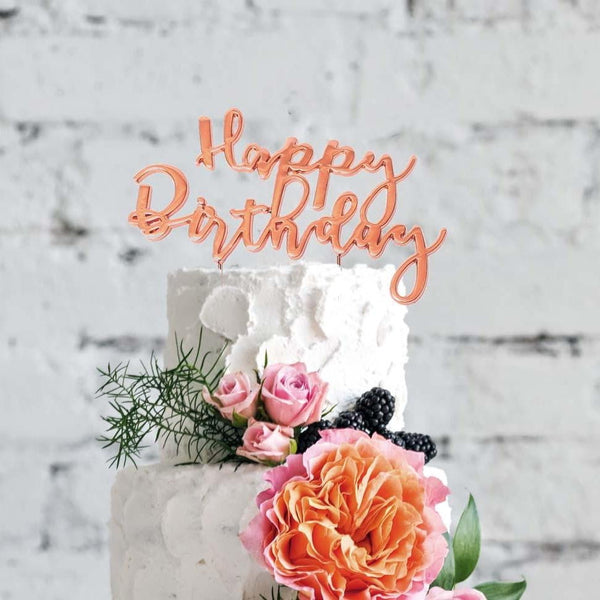 Rose Gold Happy Birthday Cake Topper | Rose Gold Party Supplies
