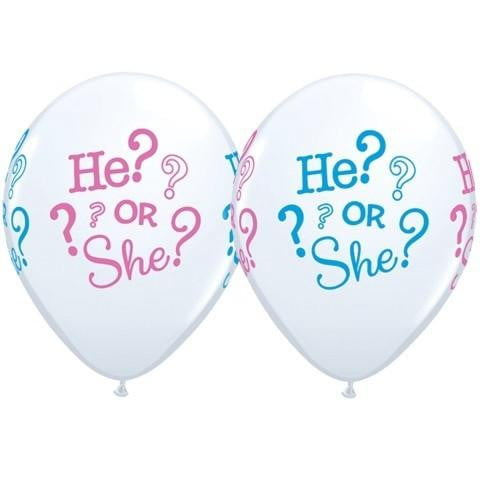 Qualatex | He? or She? Balloon | Gender Reveal Party Theme & Supplies