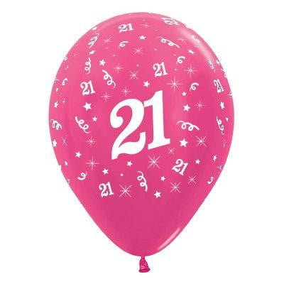 Sempertex | 6 Pack Age 21 Balloons - Metallic Fuchsia