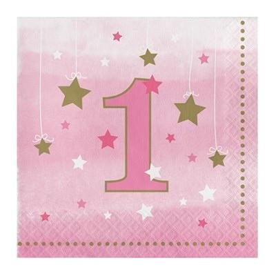 Party Creations | One Little Star Pink Napkins - Lunch