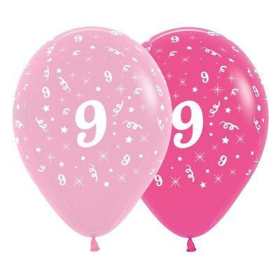 Sempertex | 6 Pack Age 9 Balloons - Pink & Hot Pink |