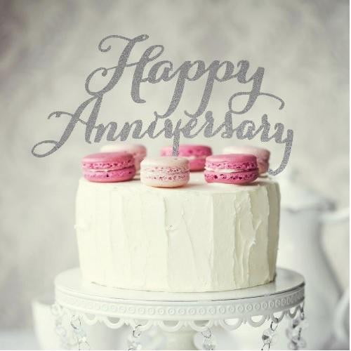 Happy Anniversary Silver Cake Topper | Anniversary Cake Decorations