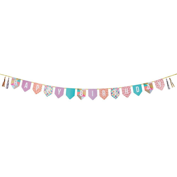 Party Time Happy Birthday Tassel Bunting