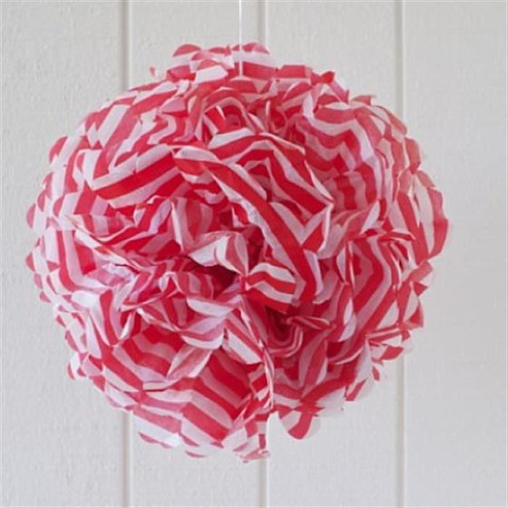 Red Stripe Paper Pom Pom | Circus Party Theme and Supplies