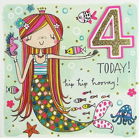 Rachel Ellen 4 Today Mermaid Birthday Card