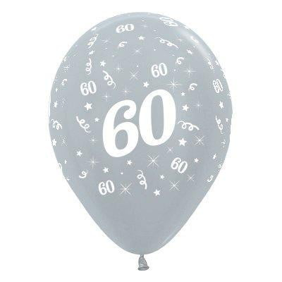 Sempertex | 6 Pack Age 60 Balloons - Satin Pearl Silver