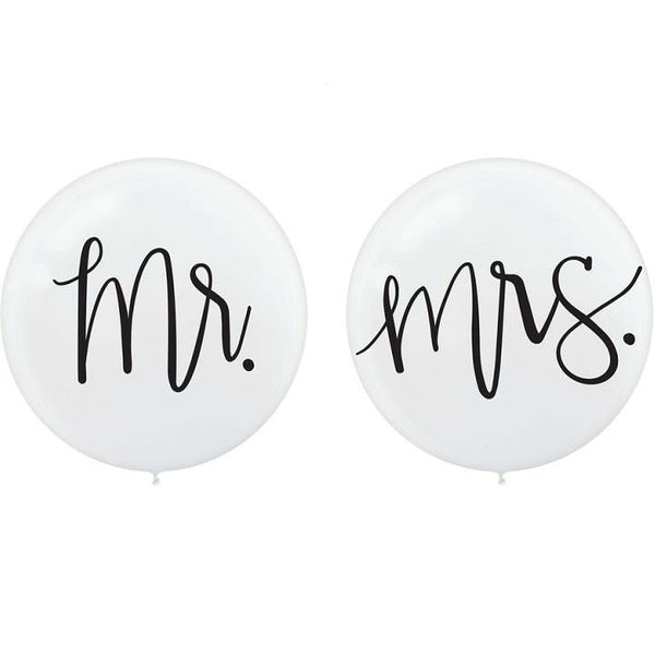 Mr & Mrs Round Giant Latex Balloon Set