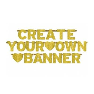 Amscan | Create Your Own Banner Gold Glitter |