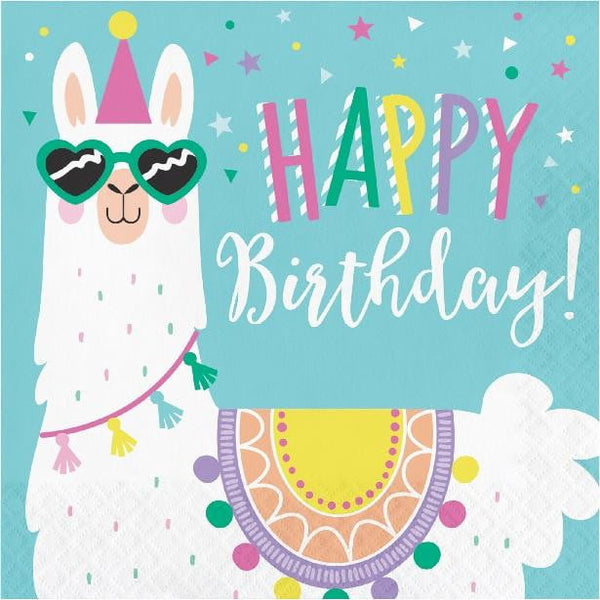 Amscan | Llama Party Happy Birthday Napkins - Lunch | Llama Party Theme & Supplies